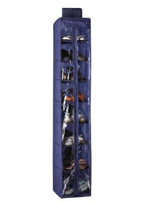 Кофр для обуви подвесной с молнией, 8 полок NIKLEN. Цвет: синий