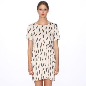 Платье с короткими рукавами, рисунком , Dress Black Rice PEPALOVES. Цвет: принт/бежевый