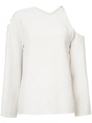 Блузка с открытыми плечами Nomia. Цвет: телесный