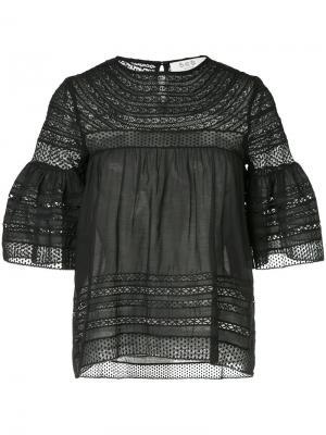 Блузка с кружевными вставками Sea. Цвет: чёрный