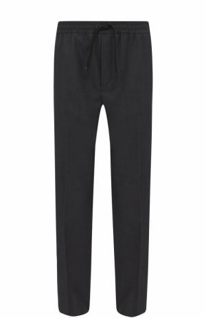 Шерстяные брюки прямого кроя с поясом на кулиске Ami. Цвет: серый