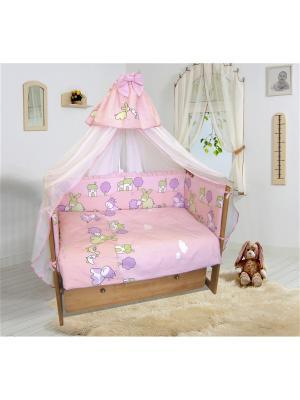 Комплект постельного белья в кроватку,Веселая ферма Soni kids. Цвет: розовый