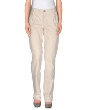 Повседневные брюки WHITE*. Цвет: бежевый