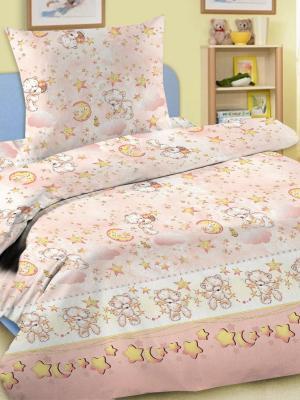 Комплект в кроватку Ясли BGR-16, простыня на резинке, бязь Letto. Цвет: розовый, голубой, коричневый