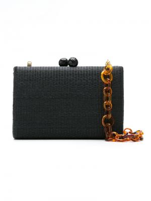 Woven straw clutch Serpui. Цвет: чёрный