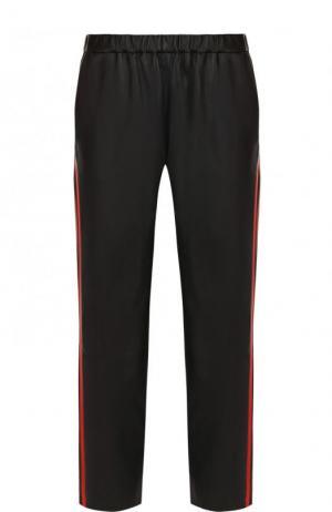 Укороченные кожаные брюки с контрастными лампасами DROMe. Цвет: черный