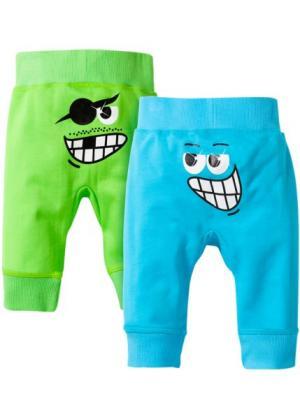 Трикотажные брюки из биохлопка (2 пары в упаковке) (ярко-зеленый/бирюзовый) bonprix. Цвет: ярко-зеленый/бирюзовый