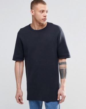 ADPT Удлиненная футболка из ткани пике с круглым вырезом. Цвет: темно-синий