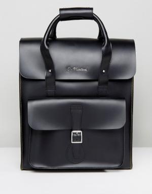 Dr Martens Кожаный рюкзак с желтой строчкой. Цвет: черный
