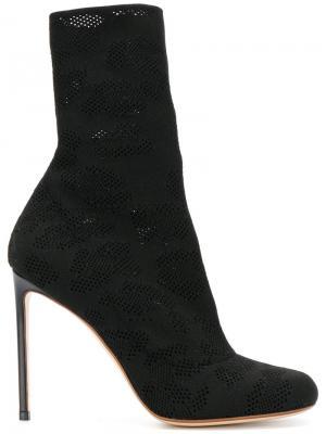 Mesh mid-calf length boots Francesco Russo. Цвет: чёрный