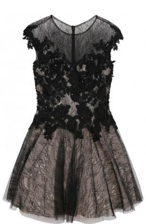 Приталенное мини-платье с кружевной отделкой Basix Black Label. Цвет: черный