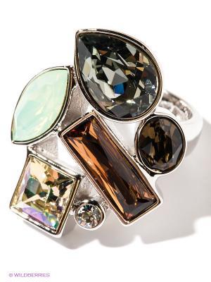 Кольцо Jenavi. Цвет: серебристый, оранжевый, светло-зеленый