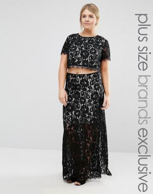 Truly You Комбинируемая кружевная юбка макси с разрезом до бедра. Цвет: черный