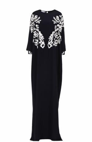 Шелковое платье-макси с контрастной кружевной отделкой Oscar de la Renta. Цвет: темно-синий