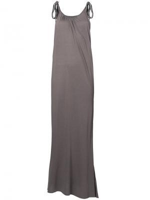 Длинное платье с завязками на плечах Rick Owens Lilies. Цвет: телесный