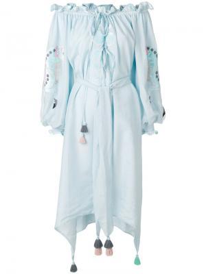 Платье с вышивкой Horses In Apples Yuliya Magdych. Цвет: синий