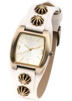 Наручные часы с декоративной отделкой (серовато-белый) bonprix. Цвет: серовато-белый