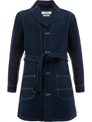 Пальто с поясом Fdmtl. Цвет: синий