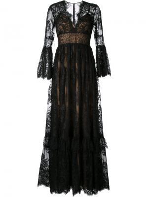 Расклешенное кружевное вечернее платье Zuhair Murad. Цвет: чёрный