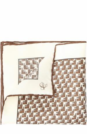 Шелковый платок с принтом Canali. Цвет: коричневый