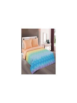 Лазурь персик Арт Постель. Цвет: голубой, зеленый, персиковый