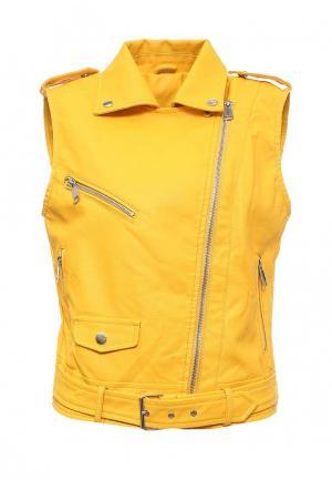 Жилет кожаный B.Style. Цвет: желтый