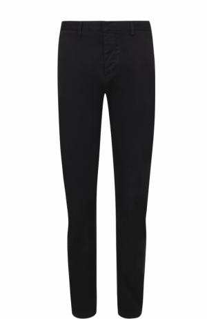 Хлопковые брюки прямого кроя Ami. Цвет: черный