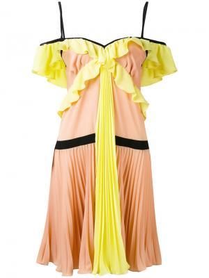 Плиссированное платье из жоржета Marco Bologna. Цвет: многоцветный