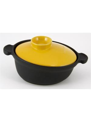 Кастрюля  с желтой крышкой 6,3 л Appolia. Цвет: черный