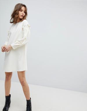 Unique 21 Платье с оборками на рукавах Unique21. Цвет: белый