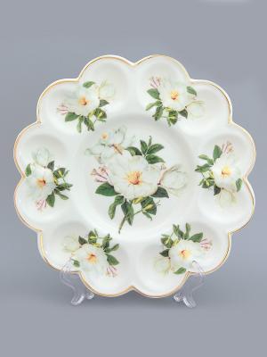 Тарелка для фаршированных яиц Белый шиповник Elan Gallery. Цвет: белый, зеленый