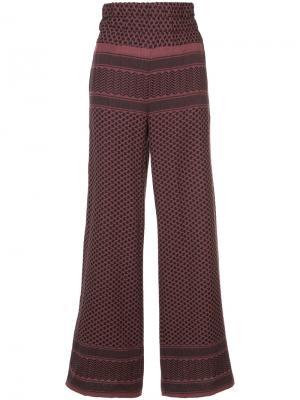 Широкие брюки с плетеным узором Cecilie Copenhagen. Цвет: розовый и фиолетовый