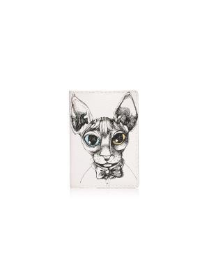 Обложка с кожаной вставкой Кот.Джеймс кот Eshemoda. Цвет: белый