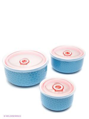 Набор контейнеров, 3шт Bekker. Цвет: голубой, розовый