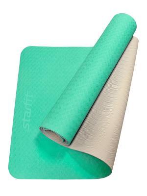 Коврик для йоги STARFIT FM-201 TPE 173x61x0,6 см, мятный/серый 1/12. Цвет: светло-зеленый, серый