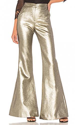 Расклешенные брюки emma Petersyn. Цвет: металлический золотой