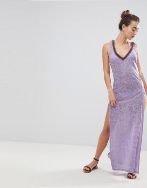 River Island Пляжное платье макси. Цвет: фиолетовый