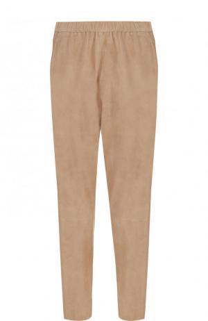 Укороченные замшевые брюки с эластичным поясом DROMe. Цвет: бежевый