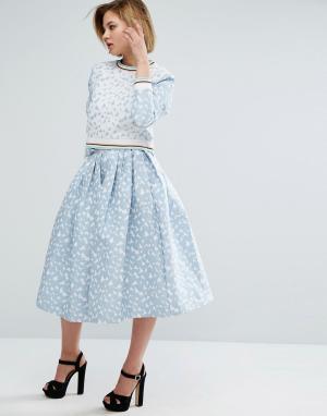 House of Holland Жаккардовая юбка. Цвет: синий