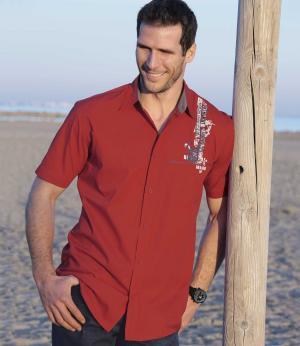 Рубашка из Поплина AFM. Цвет: красныи