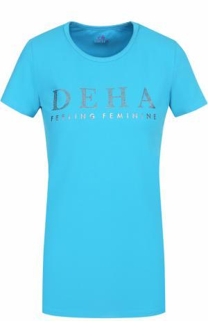 Спортивная футболка с контрастной отделкой Deha. Цвет: голубой