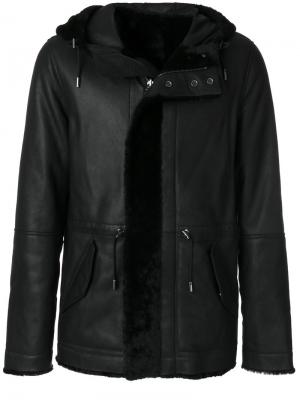 Кожаное пальто с капюшоном Yves Salomon. Цвет: чёрный