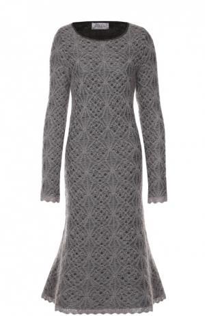 Вязаное кружевное платье с круглым вырезом Tak.Ori. Цвет: серый