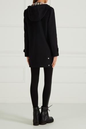 Шерстяное пальто-дафлкот Burberry. Цвет: черный