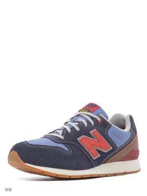 Кроссовки NEW BALANCE 996 SUEDE. Цвет: синий, коричневый, красный