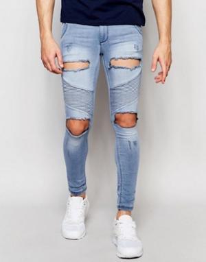 SikSilk Байкерские джинсы скинни с потертостями. Цвет: синий