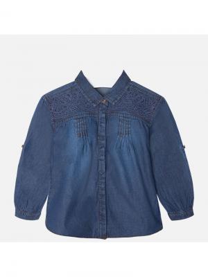 Блузка Mayoral. Цвет: темно-синий