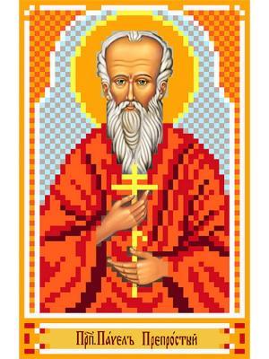 Рисунок на шелке именная икона Святой Павел Матренин Посад. Цвет: красный