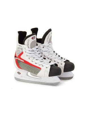 Коньки хоккейные Hybrid Larsen. Цвет: белый, черный, серебристый, красный