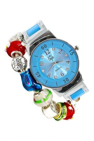 Набор: часы, браслет Taya. Цвет: серебристый, синий